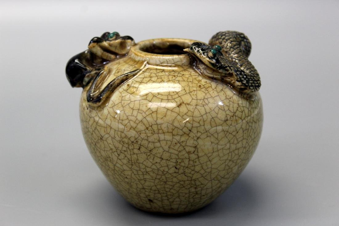 Chinese Crackle Glaze Jar Surmounted by Two (2)