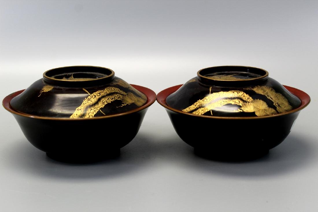 Pair Japanese Lacquer Parcel Gilt Decorated Covered