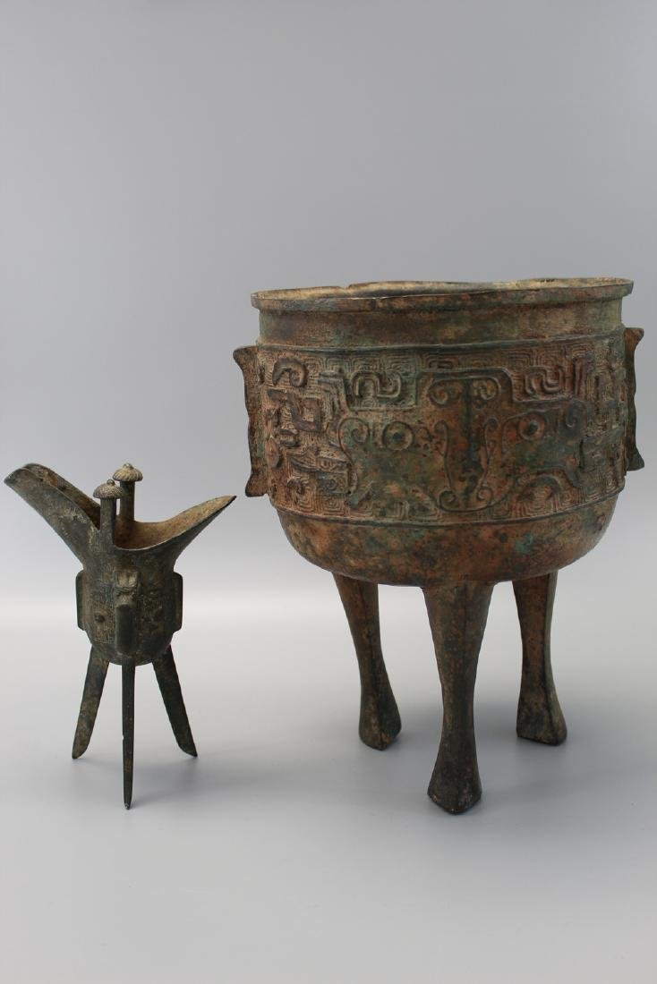 Two Chinese bronze vessels.