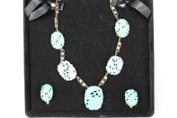 A beautiful set of Chinese silver and carved turquoise