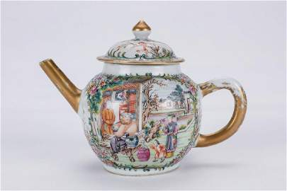 Chinese rose medallion porcelain teapot.
