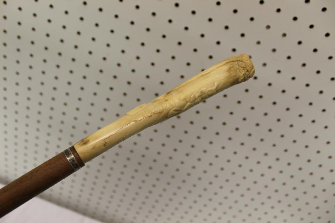 Vintage cane with carved bone handle. - 5