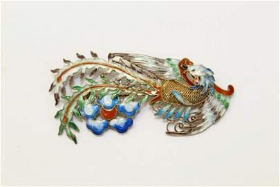 Vintage Chinese Enameled Silver Brooch.