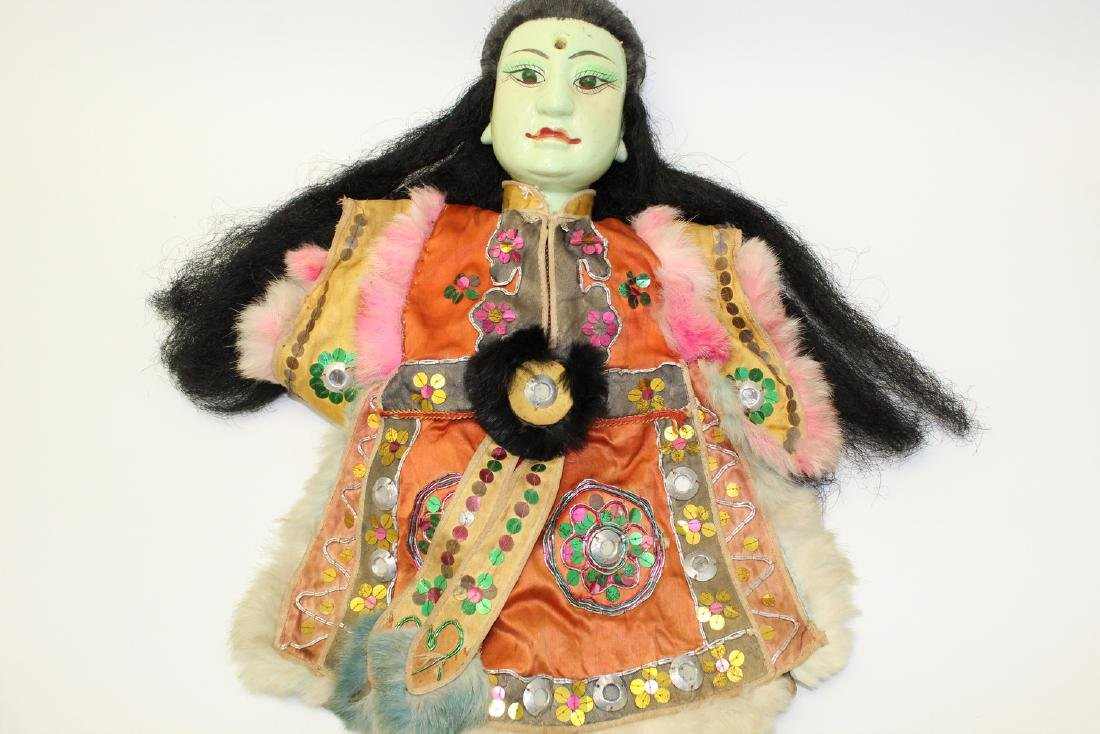 Vintage Japanese puppet with green porcelain face.