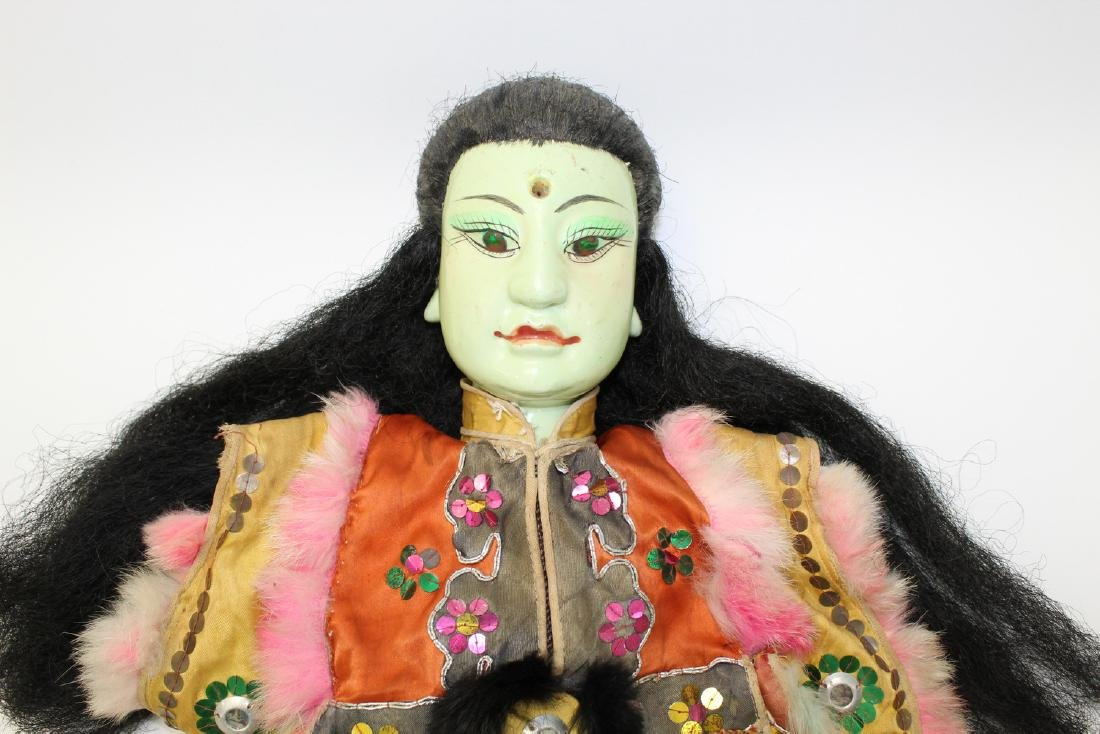 Vintage Japanese puppet with green porcelain face. - 2