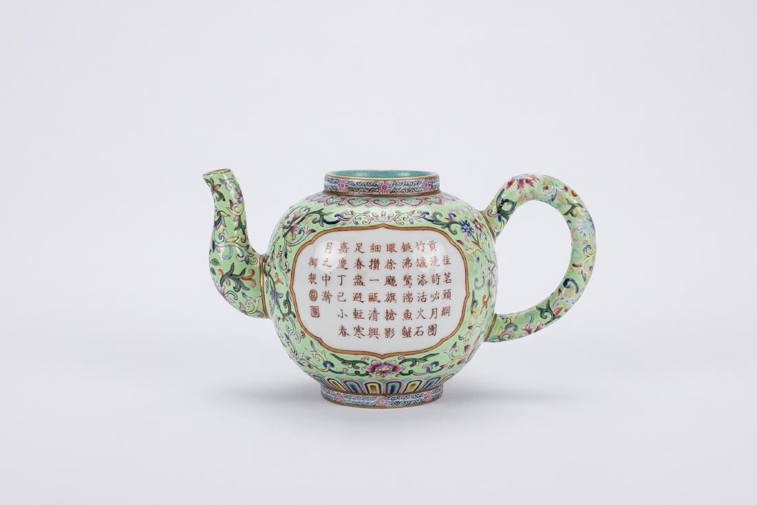 Chinese famille rose porcelain teapot, Jiaqing mark.