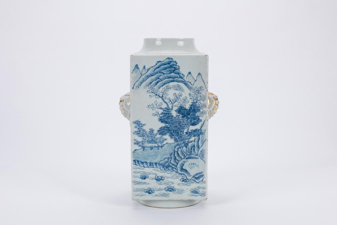 Chinese blue and white porcelain Cong vase.