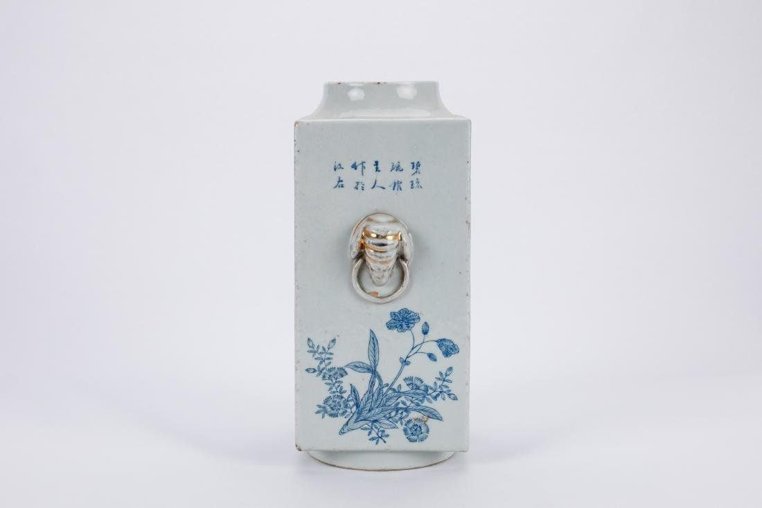 Chinese blue and white porcelain Cong vase. - 2