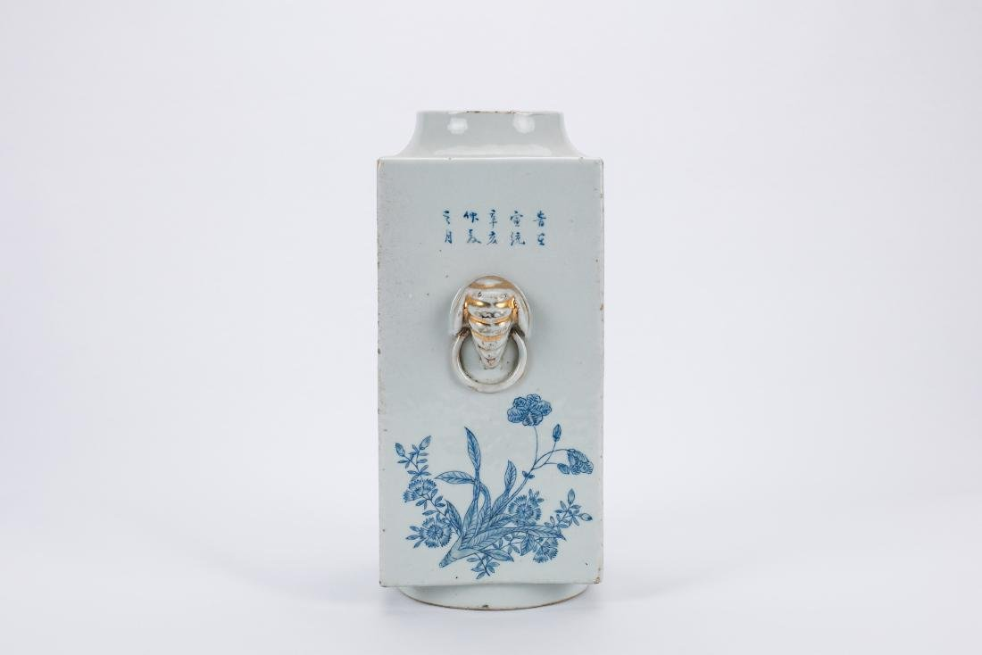 Chinese blue and white porcelain Cong vase. - 4