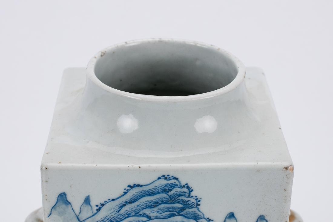 Chinese blue and white porcelain Cong vase. - 5