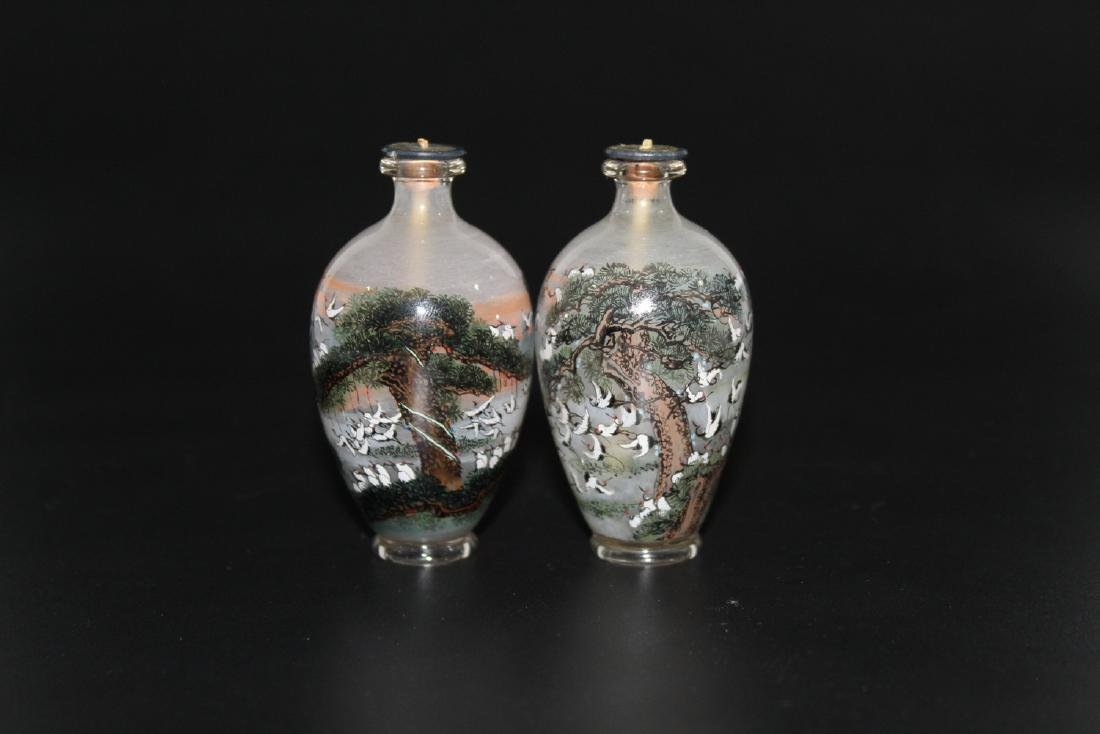 A pair of Chinese inside-painted glass snuff bottles. - 2