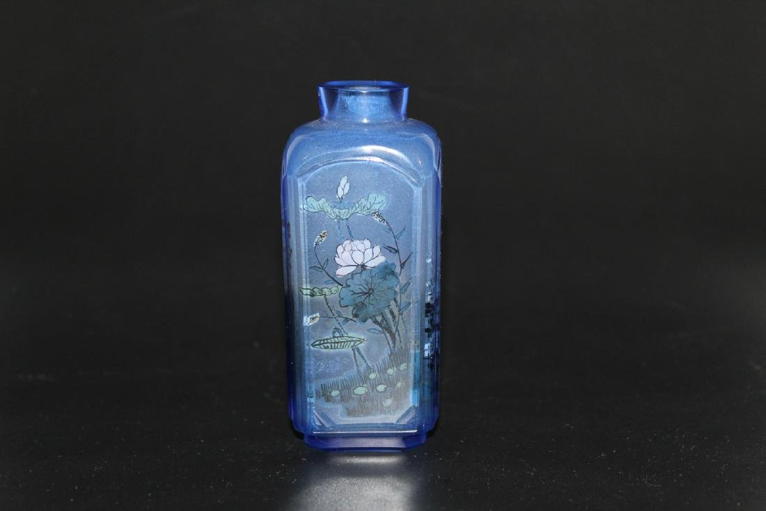 Chinese inside-painted blue glass snuff bottle