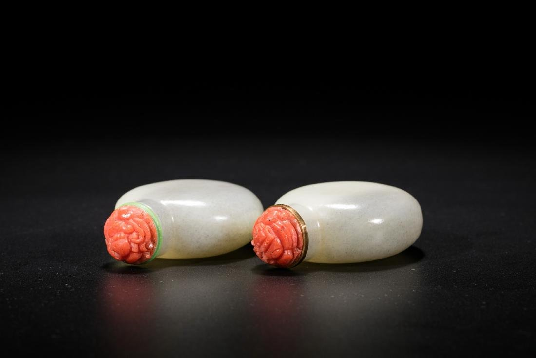 A pair of Chinese white jade snuff bottles. 19th - 3