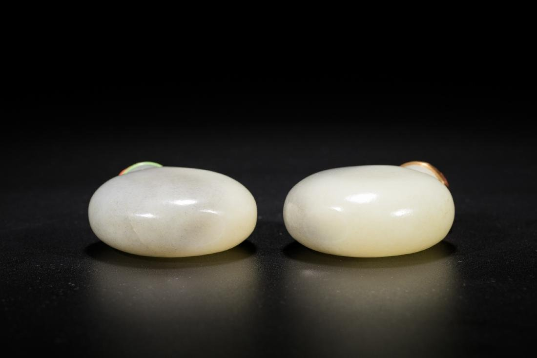 A pair of Chinese white jade snuff bottles. 19th - 4
