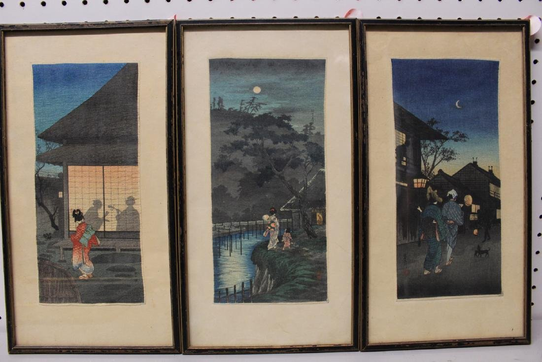 Three Japanese woodblock prints. Framed.