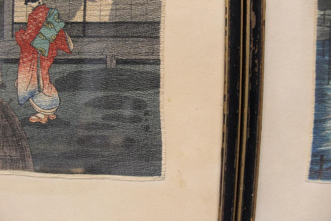 Three Japanese woodblock prints. Framed. - 2