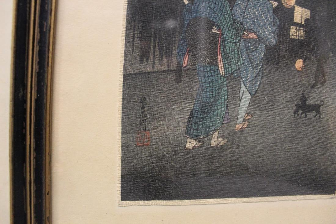 Three Japanese woodblock prints. Framed. - 3