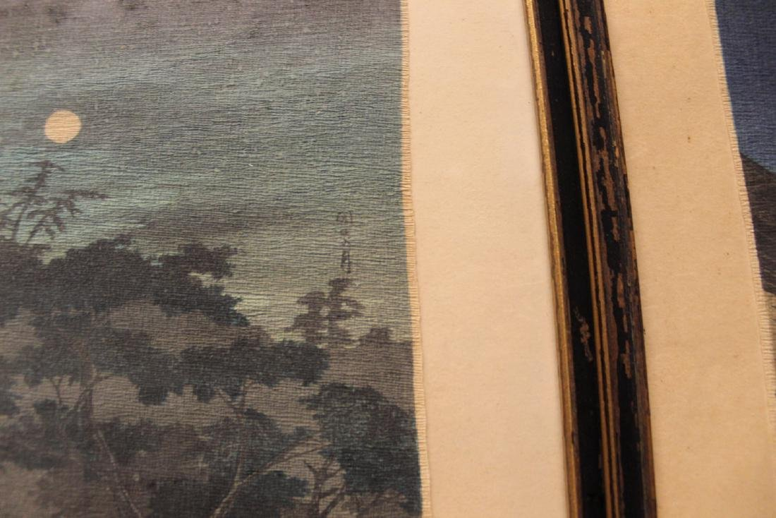 Three Japanese woodblock prints. Framed. - 4