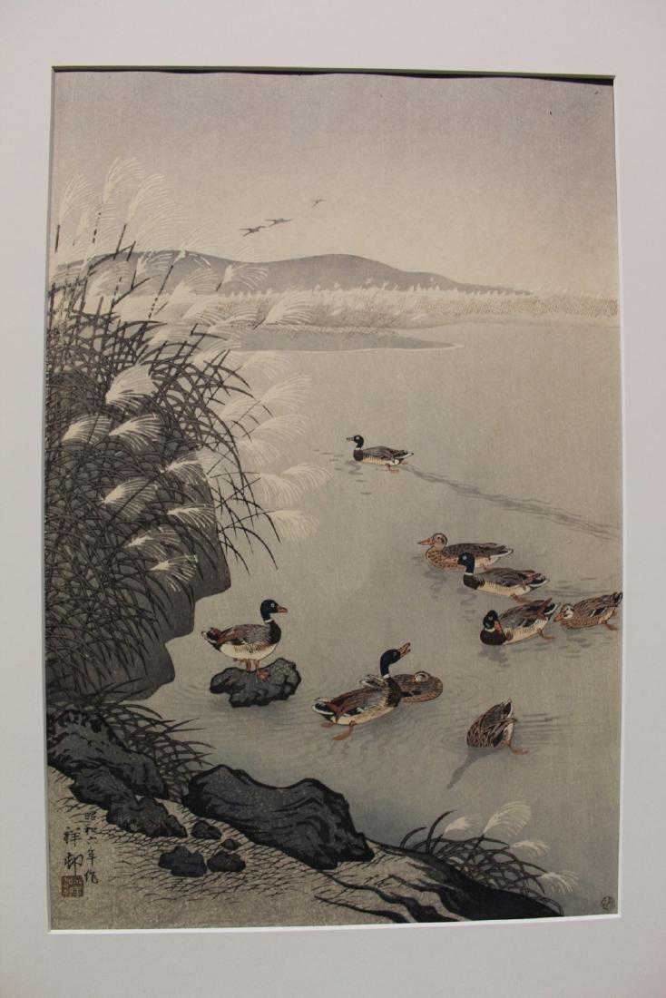 Ducks on the lake, Japanese woodblock print.