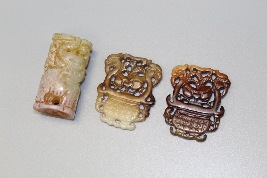 Three Chinese carved jade pendants. - 2