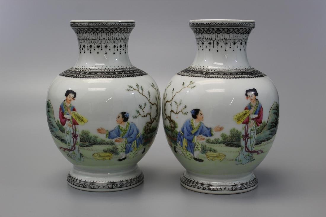 Pair of Chinese famille rose porcelain vases. Qianlong