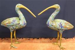 Pair of large Chinese cloisonne birds. 19th Century.
