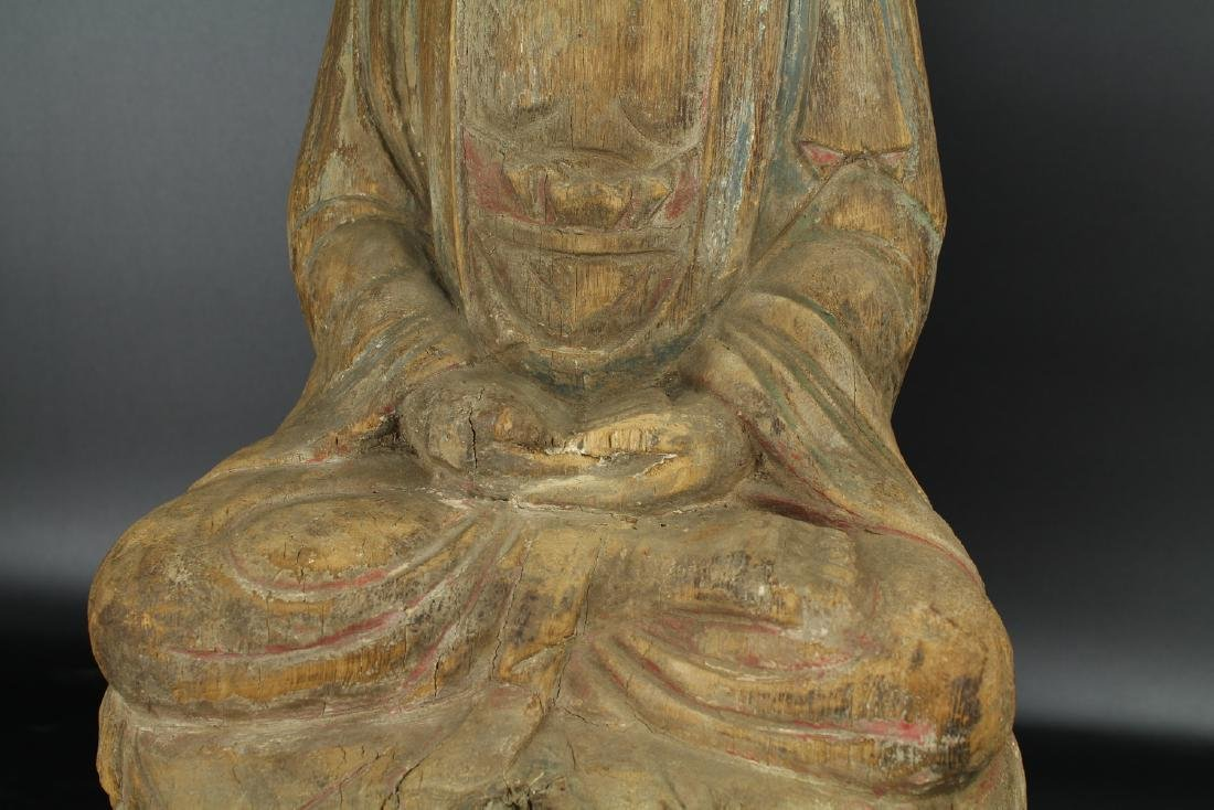 Chinese carved wood figure of a Buddha. - 2