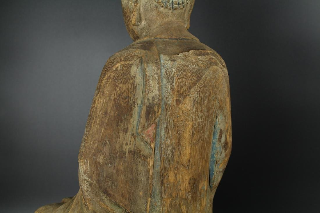 Chinese carved wood figure of a Buddha. - 4