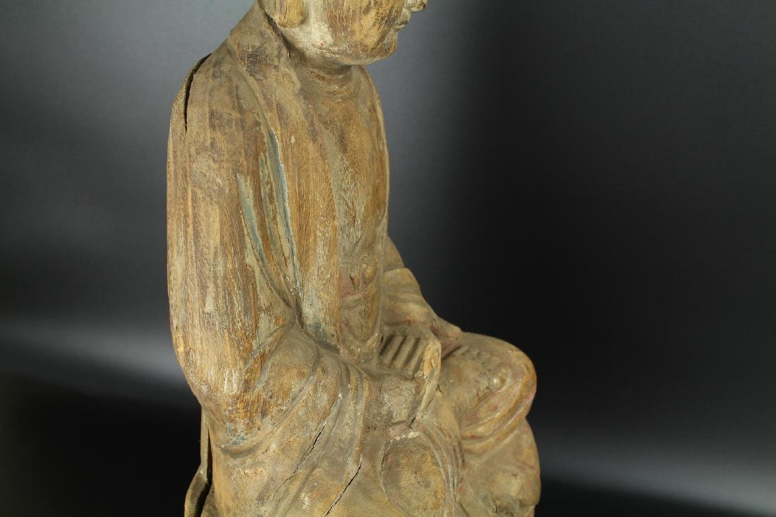 Chinese carved wood figure of a Buddha. - 6