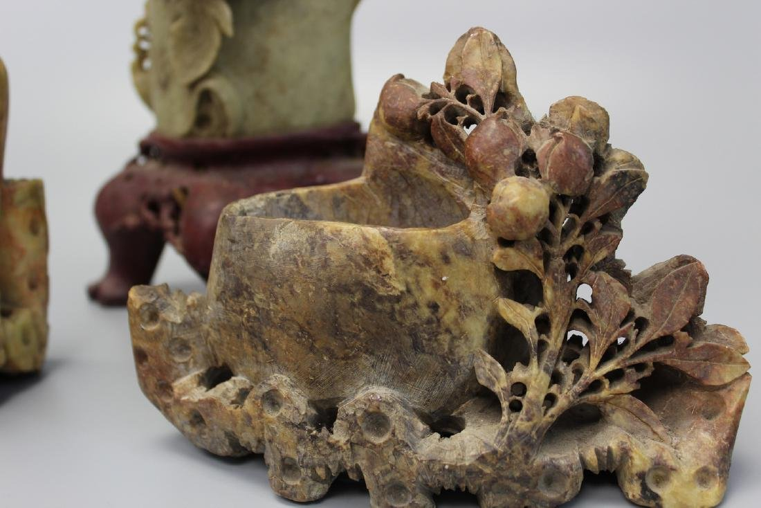 Three Chinese soapstone carvings. - 4