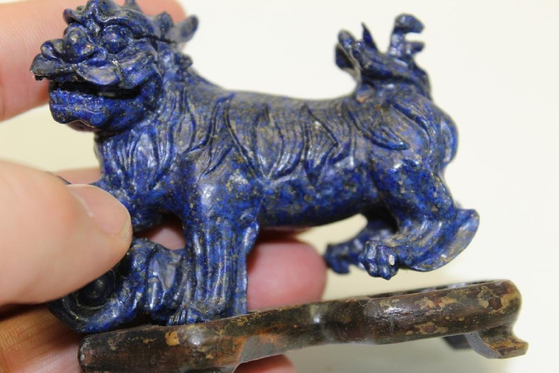 Chinese Carved Lapis Lazuli Qilin on Wood Stand. - 3