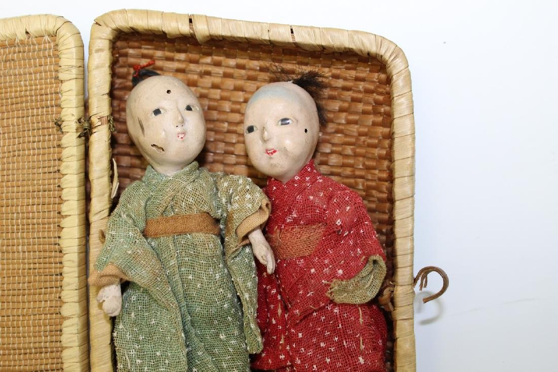 Two Japanese Miniature Dolls in a Bamboo Box. - 2