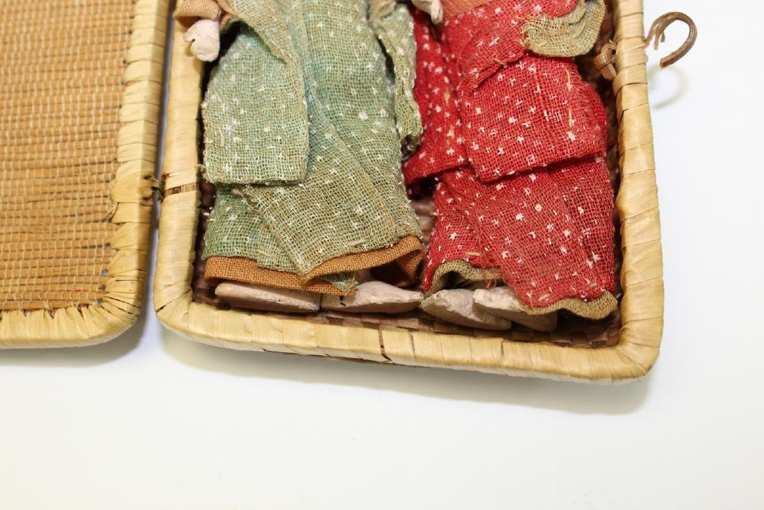 Two Japanese Miniature Dolls in a Bamboo Box. - 3