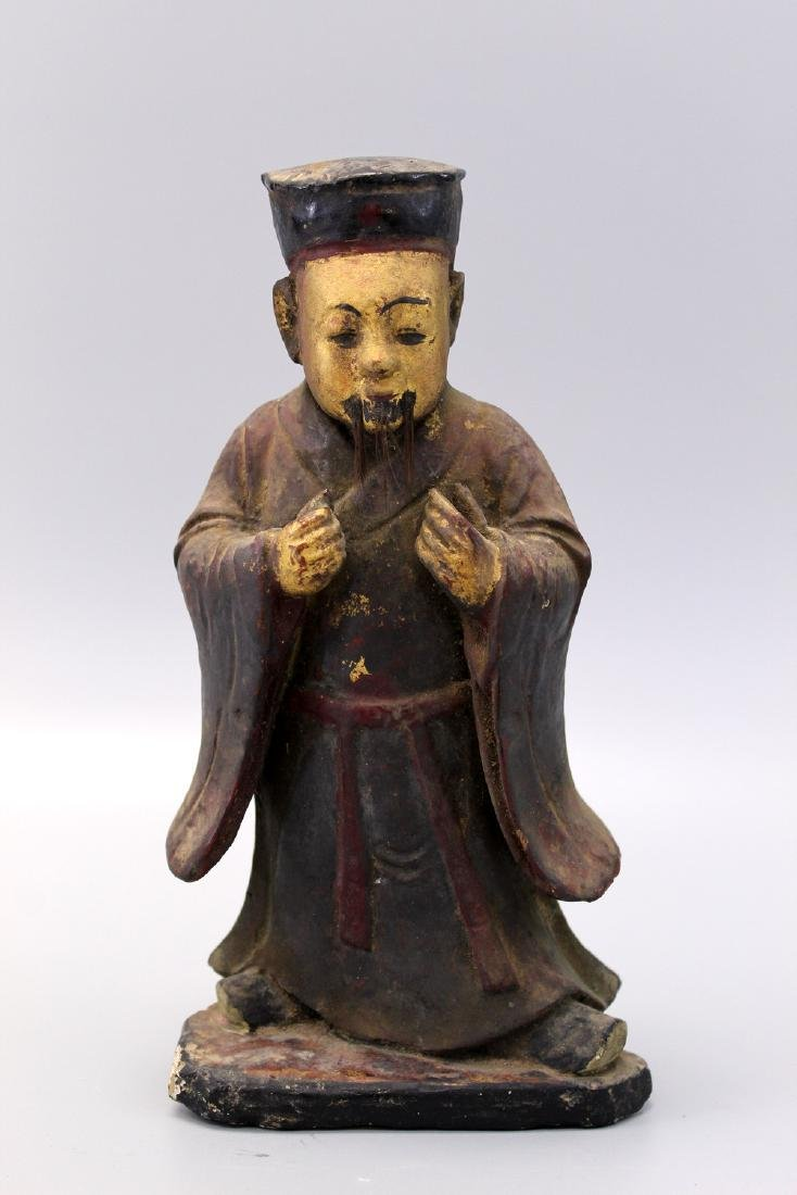 Chinese antique carved wood court figure. song dynasty.
