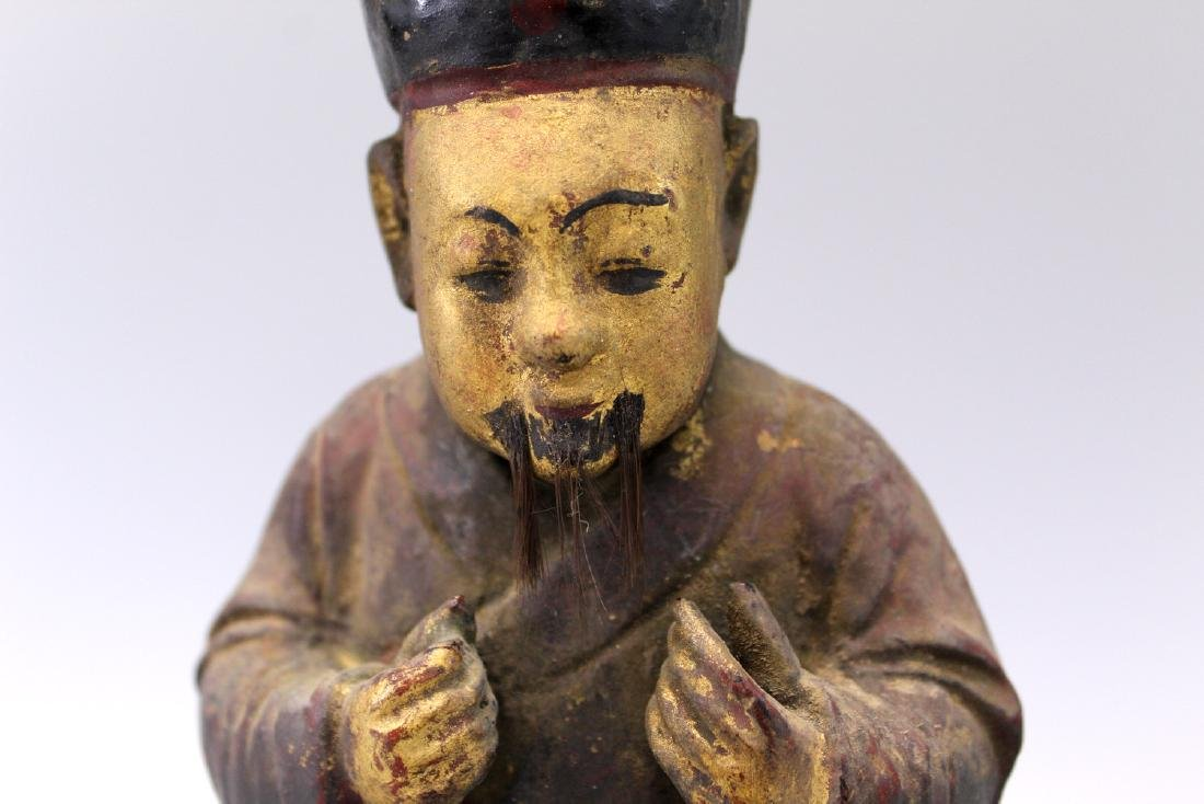 Chinese antique carved wood court figure. song dynasty. - 2