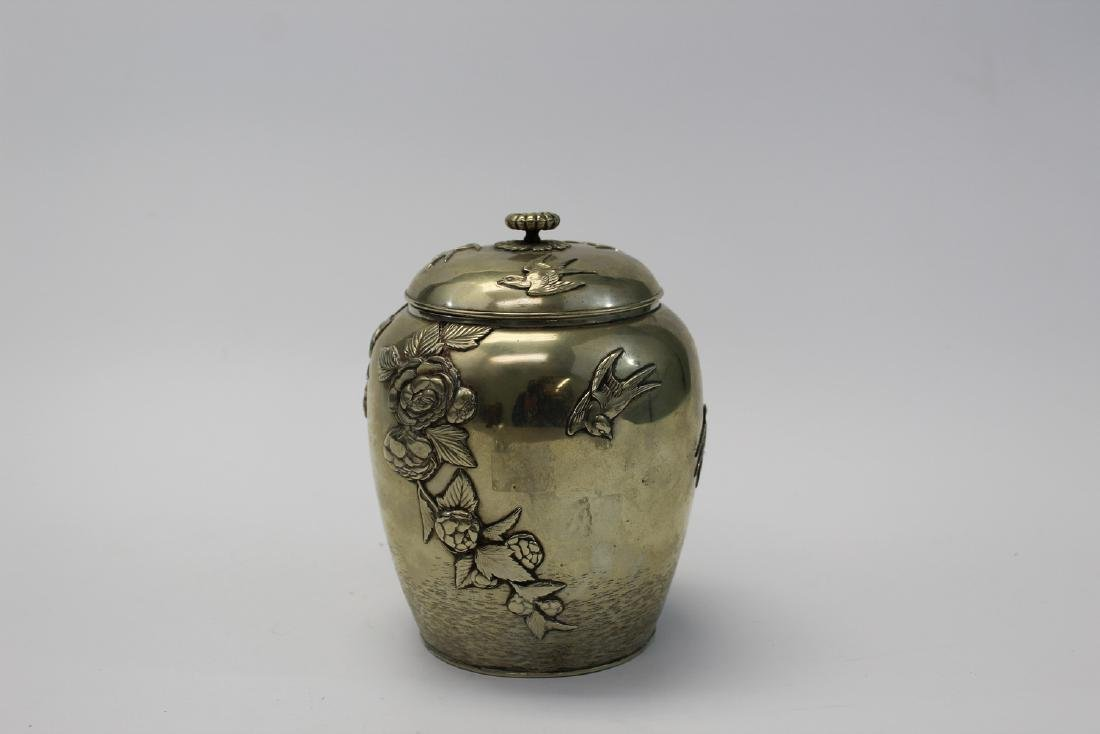 Vintage Japanese Silver Covered Tea Caddy. - 2