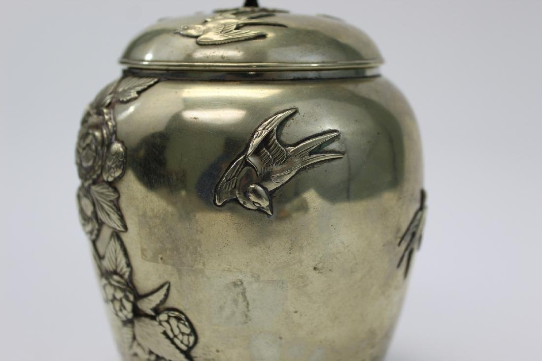 Vintage Japanese Silver Covered Tea Caddy. - 3