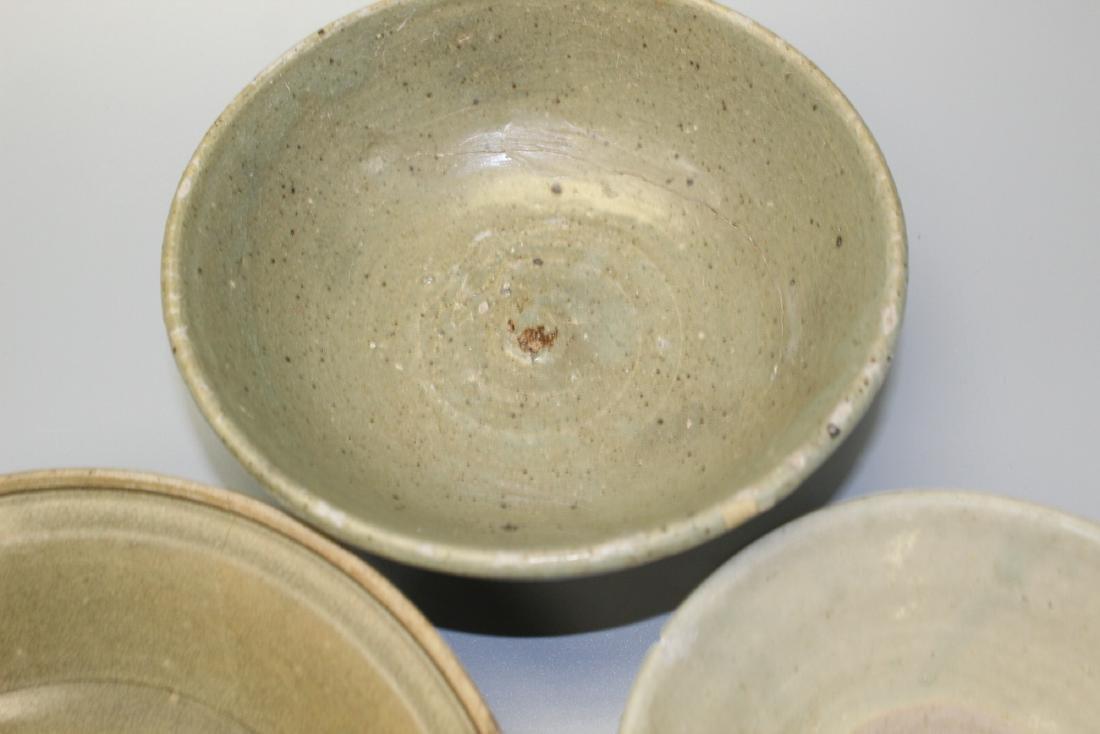 Three Thai Sawankhalok celadon glaze pottery shallow - 2