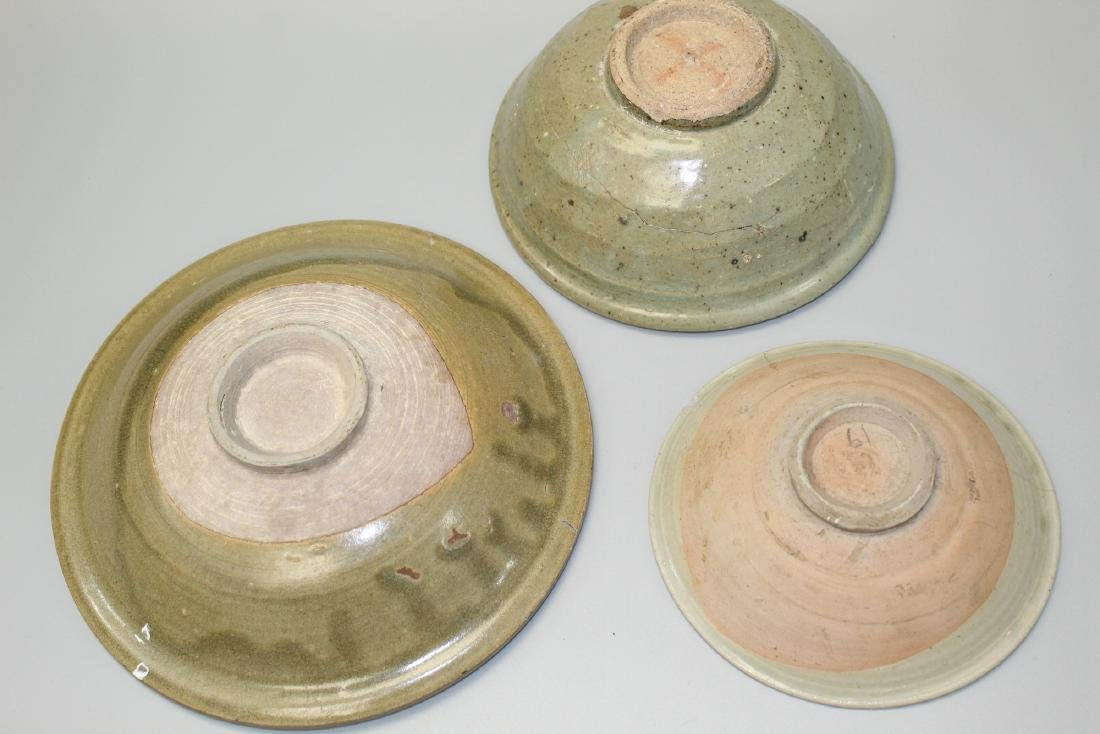 Three Thai Sawankhalok celadon glaze pottery shallow - 5