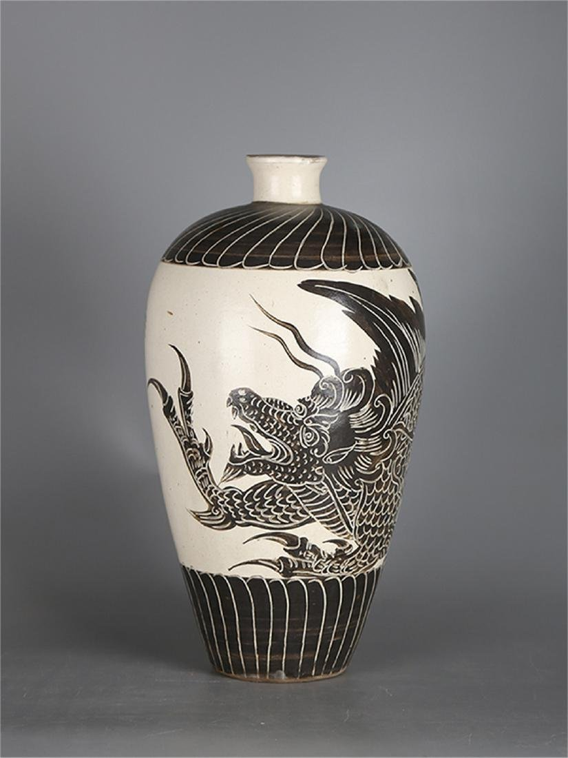 Chinese Cizhou Ware porcelain meiping vase.