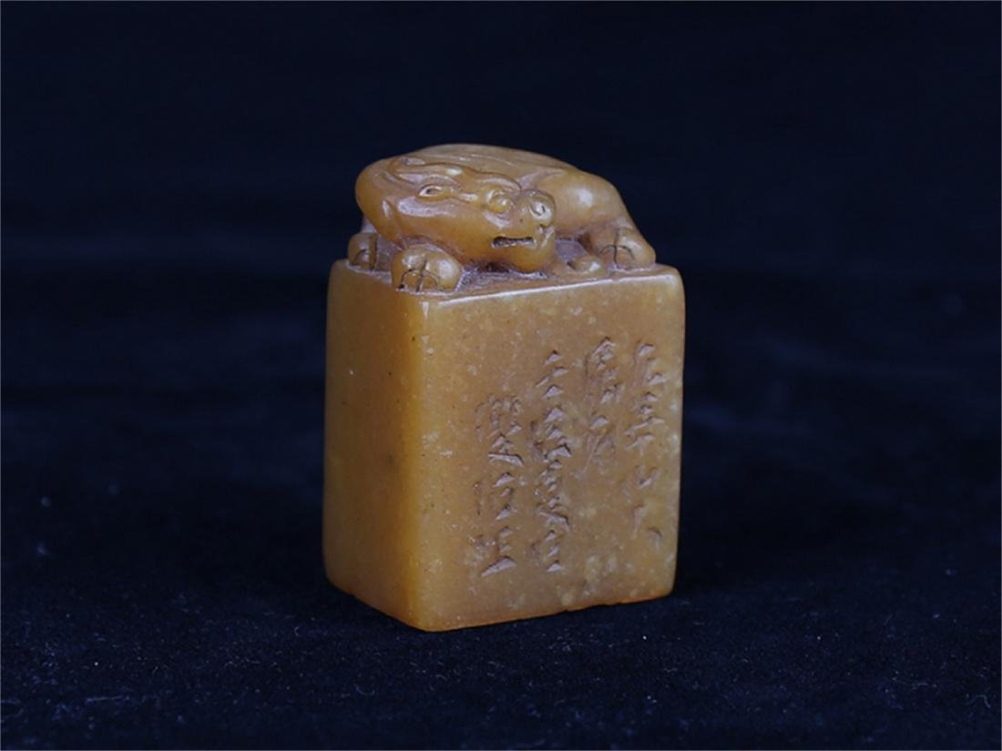 Chinese carved Tianhuang soapstone seal.