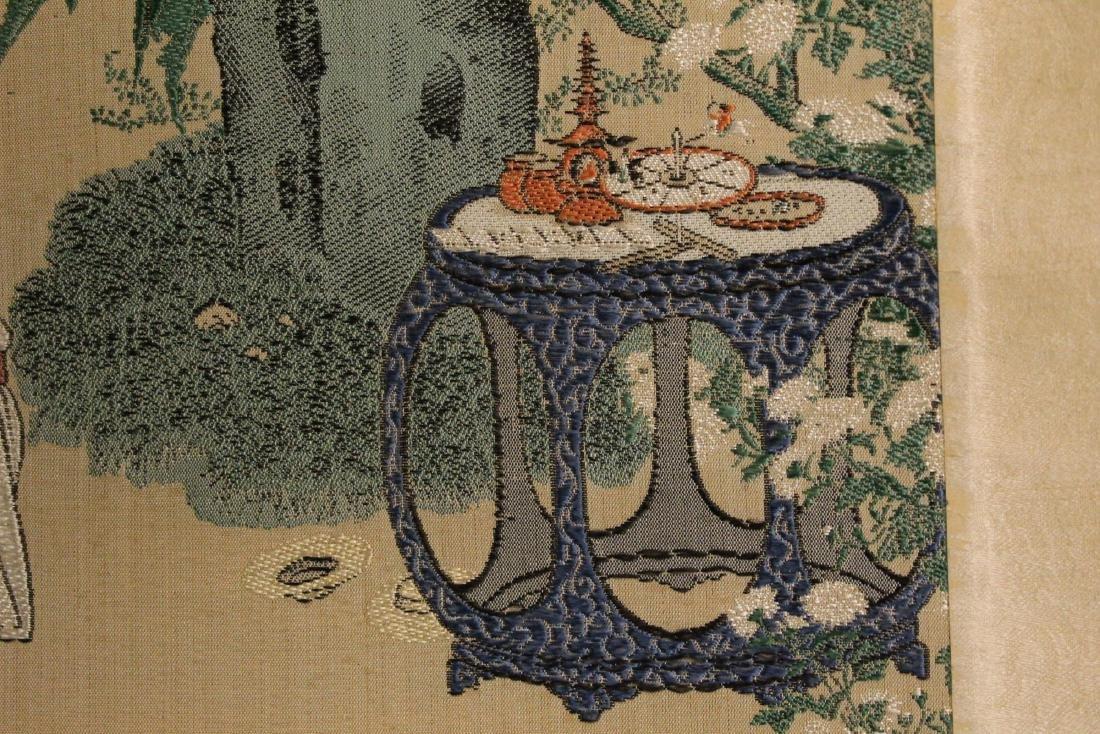 Chinese Silk brocade scroll painting. - 4