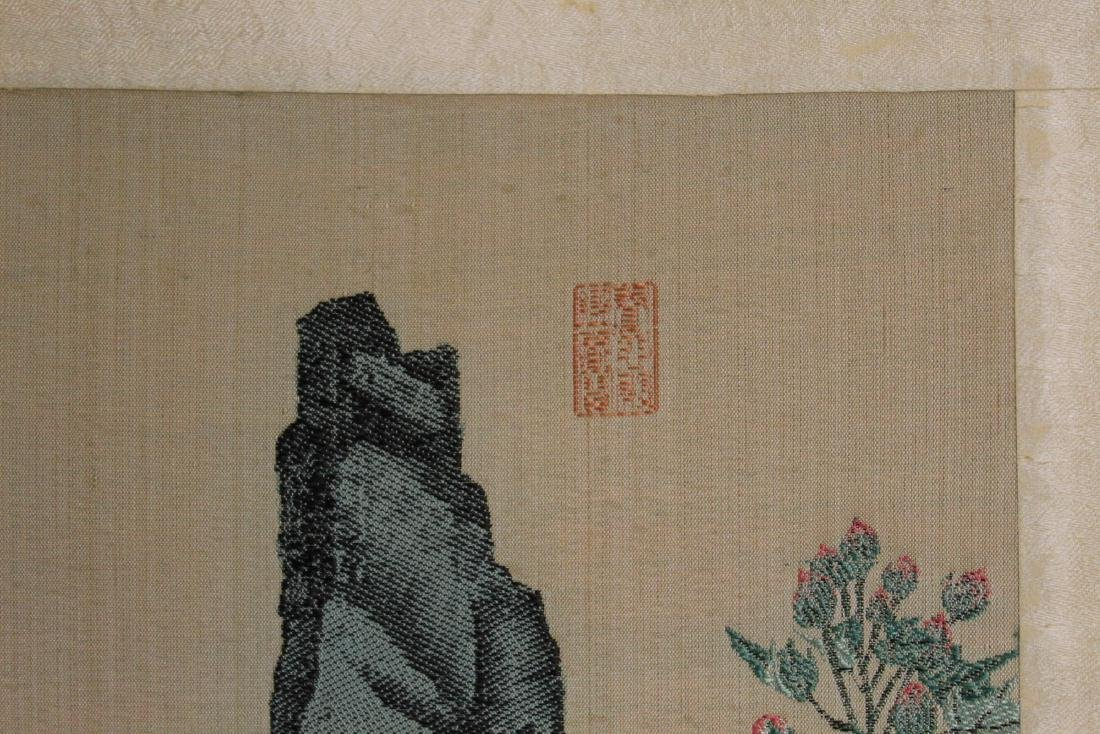 Chinese Silk brocade scroll painting. - 5