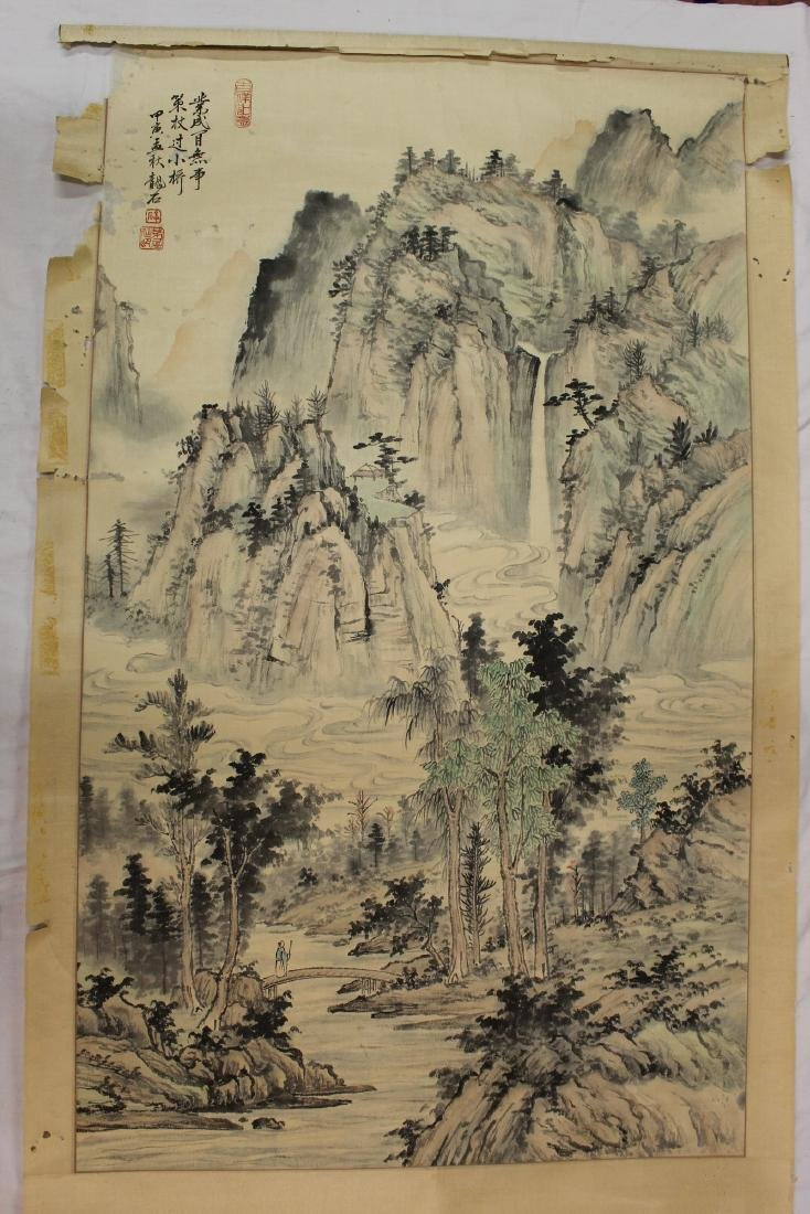 Chinese Watercolor and Ink Painting Scroll on silk.