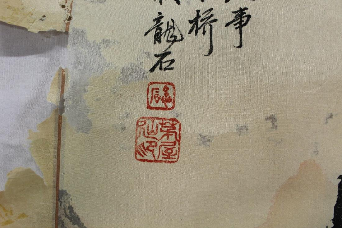 Chinese Watercolor and Ink Painting Scroll on silk. - 3