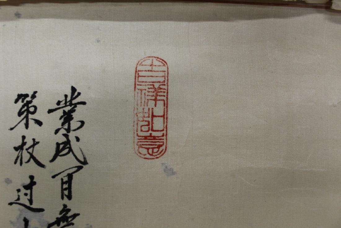 Chinese Watercolor and Ink Painting Scroll on silk. - 4