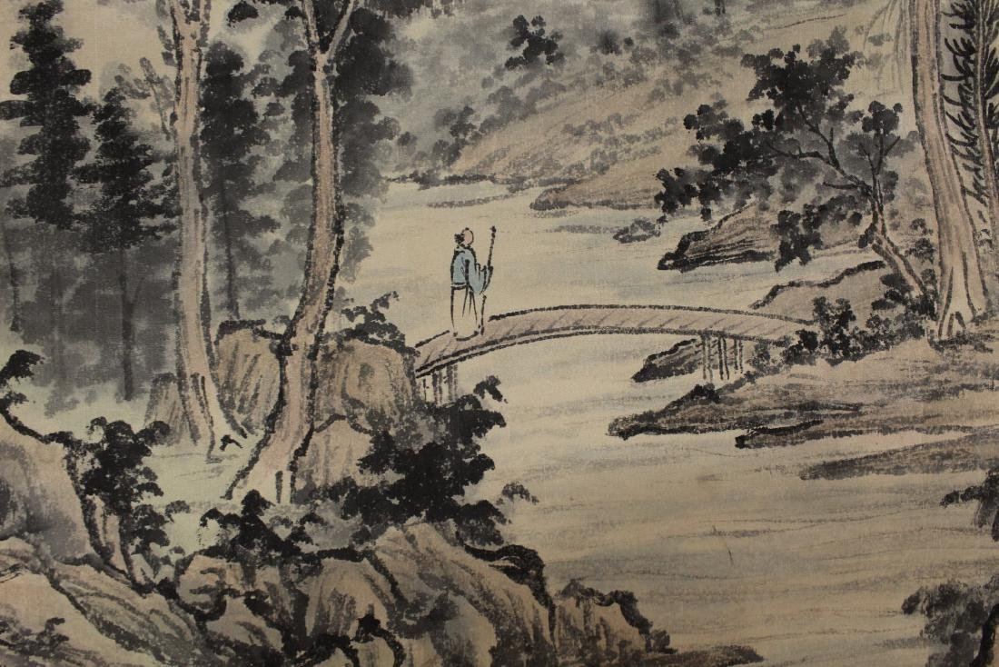 Chinese Watercolor and Ink Painting Scroll on silk. - 6
