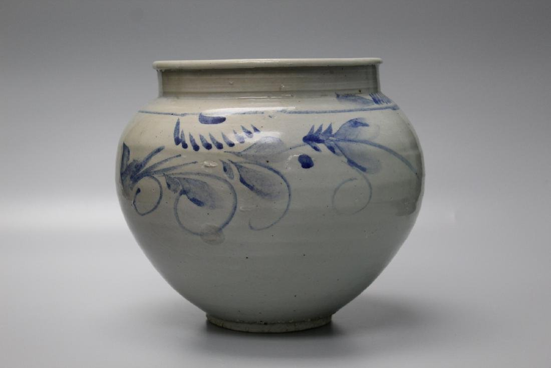 Korean blue and white porcelain jar with floral
