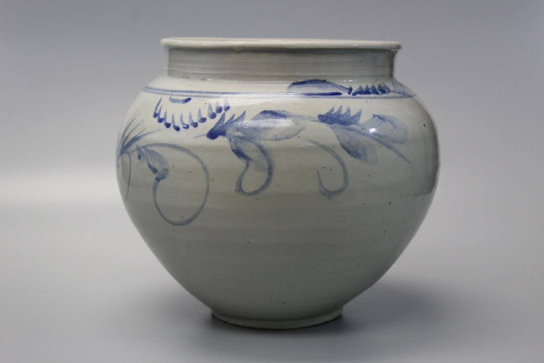 Korean blue and white porcelain jar with floral - 2