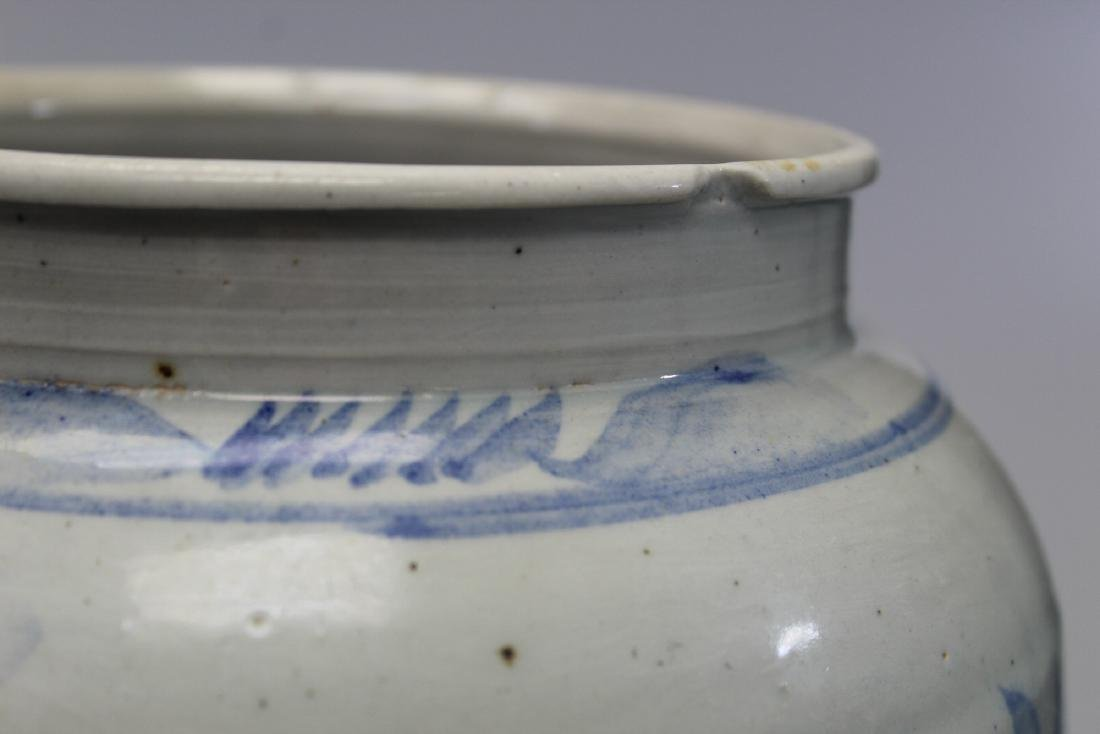 Korean blue and white porcelain jar with floral - 5